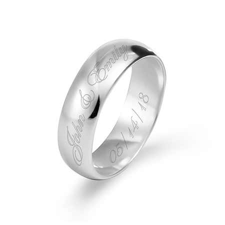 Engraved Couples Message Sterling Silver Ring