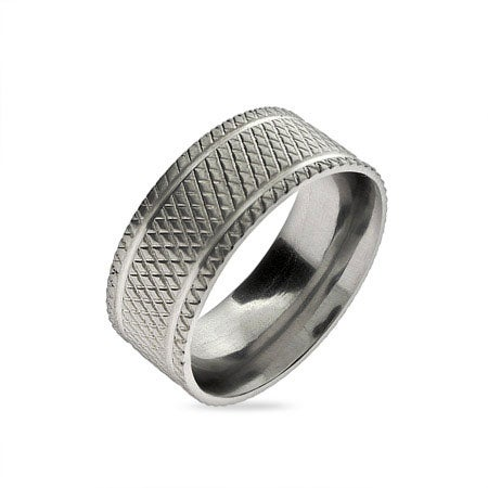 Diamond Cut Men's Stainless Steel Band | Eve's Addiction®
