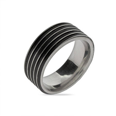 Men's Black Ribbed Stainless Steel Message Band | Eve's Addiction®