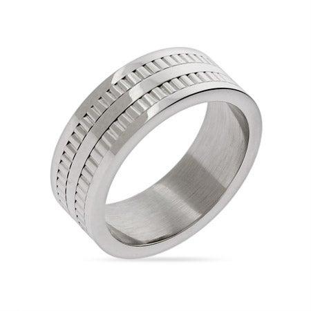 Engravable Men's Double Row Tread Ring