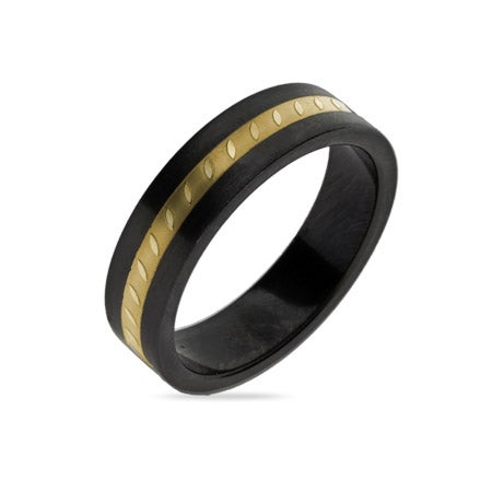 Engravable Black Plate Golden Message Band | Eve's Addiction®