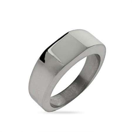 Lady's Square Cut Engravable Signet Ring