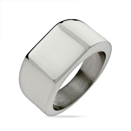 Men's Large Square Cut Engravable Signet Ring | Eve's Addiction®
