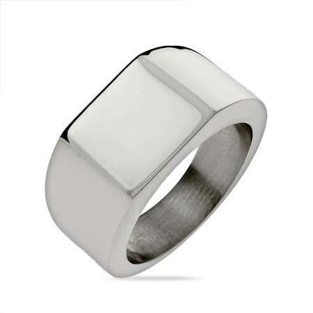 Men's Large Square Cut Engravable Signet Ring