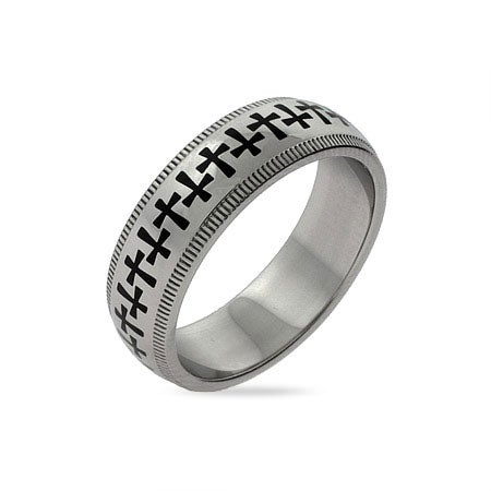 Band of Crosses Engravable Message Ring | Eve's Addiction®