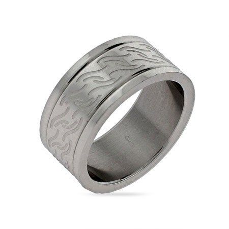 Men's Wave Design Engravable Stainless Steel Band | Eve's Addiction®