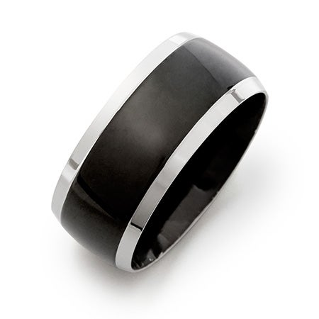 Engravable Men's Black Plate Steel Lined Band| Eve's Addiction