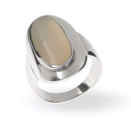 Oval Mother of Pearl Ring in Sterling Silver | Eve's Addiction