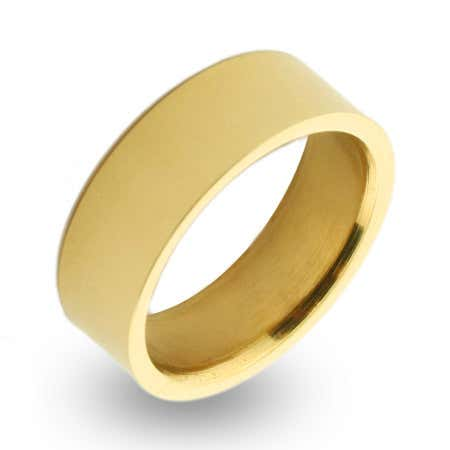 Engravable 18K Gold Plated 7mm Stainless Steel Band | Eve's Addiction