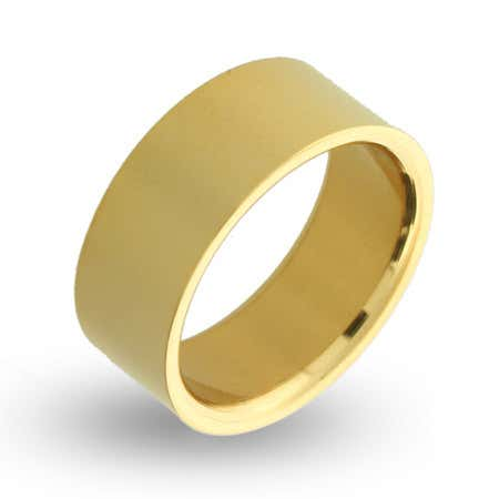 display slide 1 of 1 - 18K Gold Plated 9mm Stainless Steel Band - selected slide