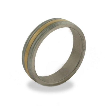 Mens Engravable Gold Stripe Titanium Band | Eve's Addiction®