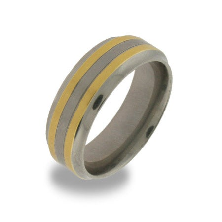 Titanium Mens Ring with Gold Inlay | Eve's Addiction®