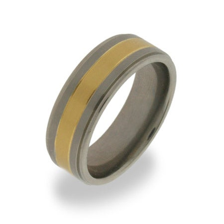 Mens Titanium Wedding Band with Gold Inlay | Eve's Addiction®