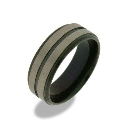 Mens Triple Black Stripe Titanium Ring | Eve's Addiction®