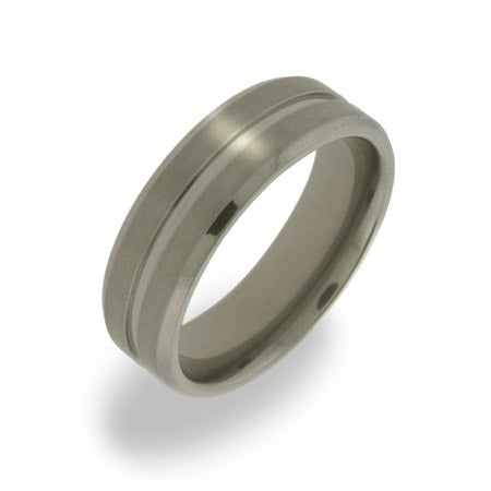 Mens Single Groove Titanium Ring | Eve's Addiction®