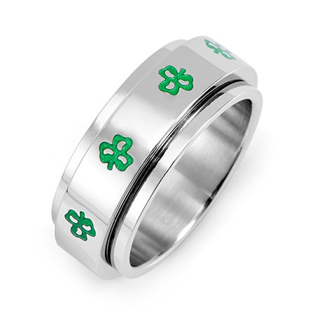 Irish Clovers Stainless Steel Spinner Ring | Eve's Addiction®