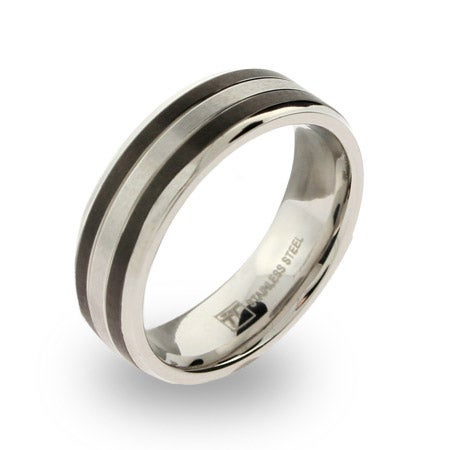 Mens Stainless Steel band with Black Inlay   Eve's Addiction®