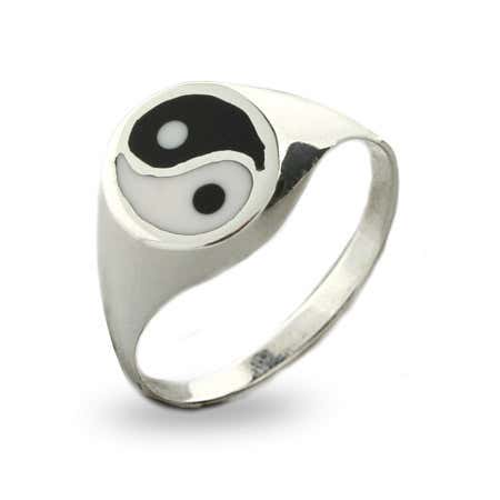 display slide 1 of 1 - Enamel Sterling Silver Yin Yang Ring - selected slide