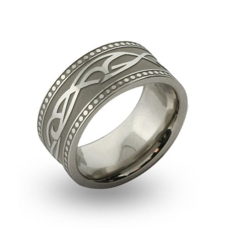Mens Tribal Design Engravable Message Band