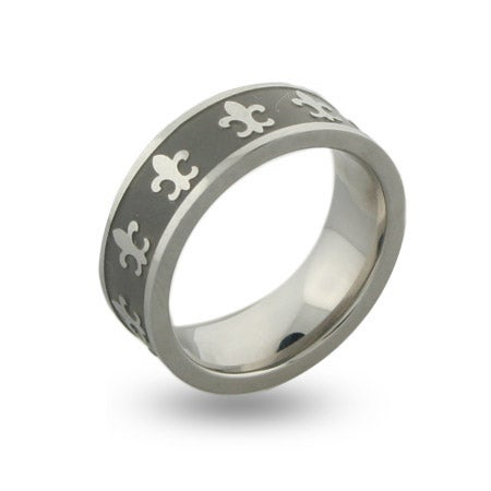 Engravable Fleur de Lis Stainless Steel Message Band | Eve's Addiction