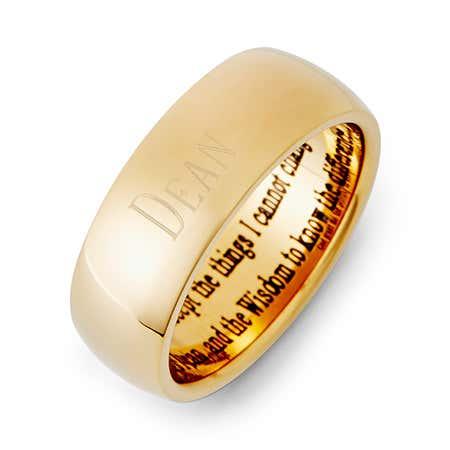 18K Gold Plated Engravable Stainless Steel Serenity Prayer Ring