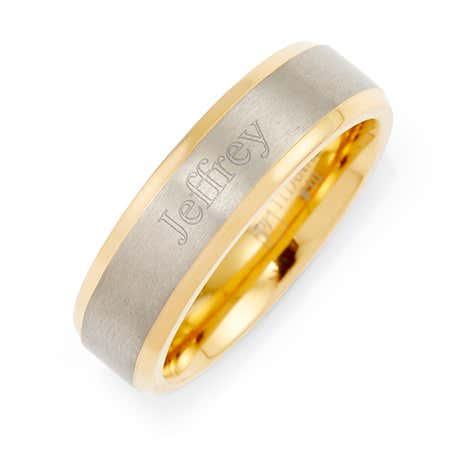 Mens Gold Edged Engravable Titanium Wedding Band