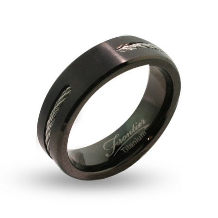 Mens Engravable Black Titanium Signet Ring with Cable Inlay | Eve's Addiction®