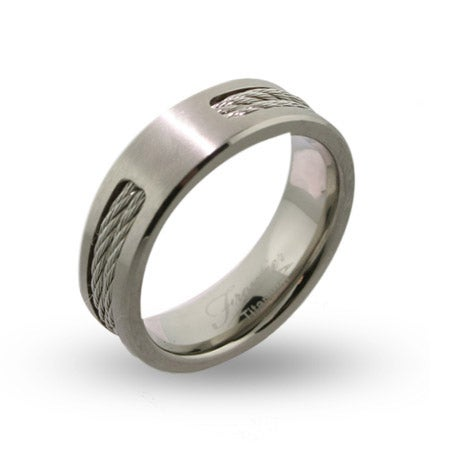 Mens Engravable Titanium Signet Ring with Double Cable Inlay | Eve's Addiction®