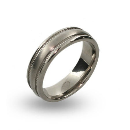 Mens Engravable Brushed Titanium Rings with Millgrain Pattern | Eve's Addiction®