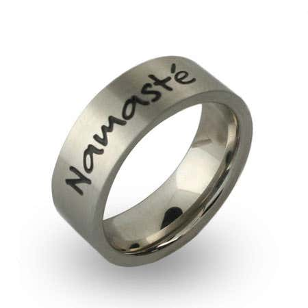 display slide 1 of 2 - Stainless Steel Engravable Namaste Band - selected slide
