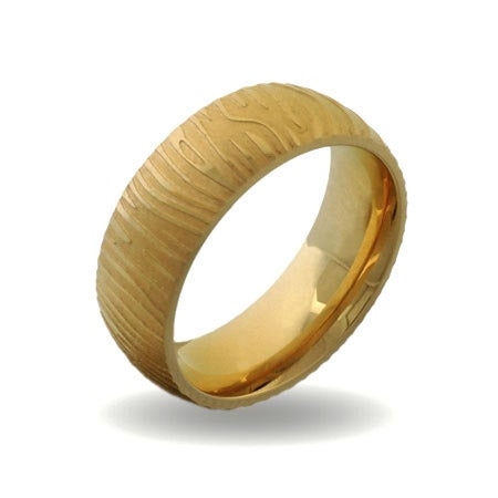 Mens Gold Plate Stainless Steel Mokume Gane Striped Ring | Eve's Addiction®