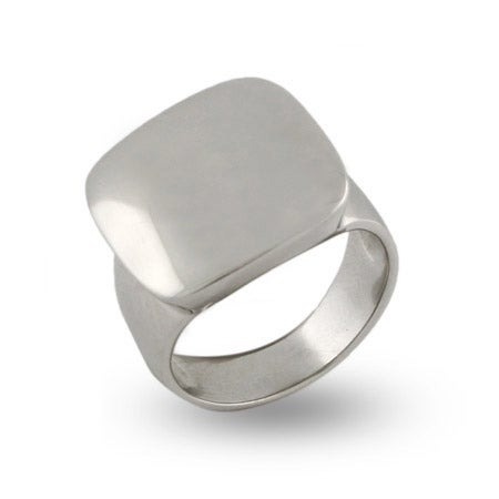 Engravable Sterling Silver Cushion Ring | Eve's Addiction®