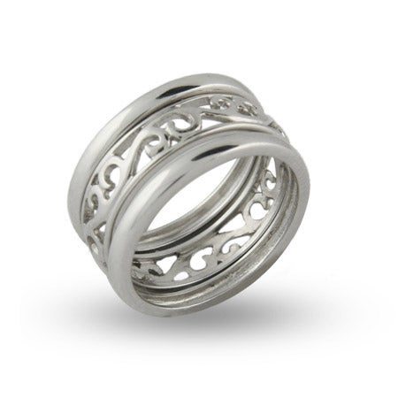 Stackable Filigree Sterling Silver Ring Set | Eve's Addiction