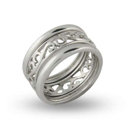 Stackable Filigree Sterling Silver Ring Set