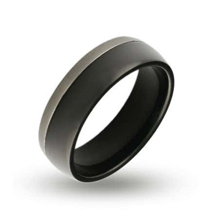 display slide 1 of 1 - Mens Silver Trim Black Plate Engraved Band - selected slide