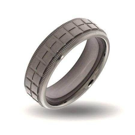 Mens Crosshatch Design Steel Engravable Band   Eve's Addiction®