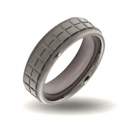 Mens Crosshatch Design Steel Engravable Band