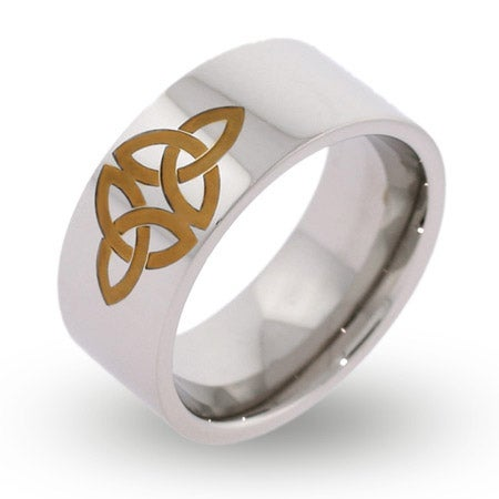 Engravable Gold Celtic Knot Message Ring | Eve's Addiction®