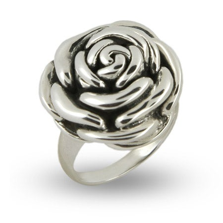 Designer Inspired Sterling Silver Rose Ring   Eve's Addiction®