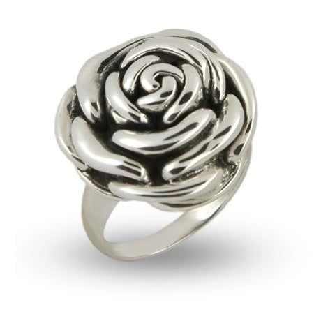 Designer Inspired Sterling Silver Rose Ring