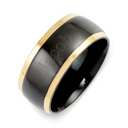 Engravable Men's Black Plate Gold Lined Steel Band