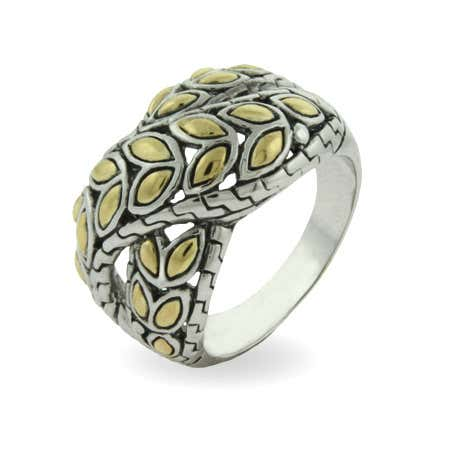 display slide 1 of 1 - Designer Inspired Golden Leaf Design Crossover Ring - selected slide