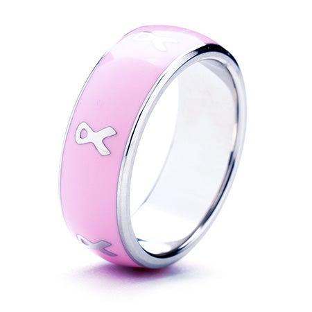 Cancer Ribbon Pink Enamel Band | Eve's Addiction®
