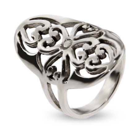 Large Sterling Silver Oval Filigree Style Ring | Eve's Addiction®