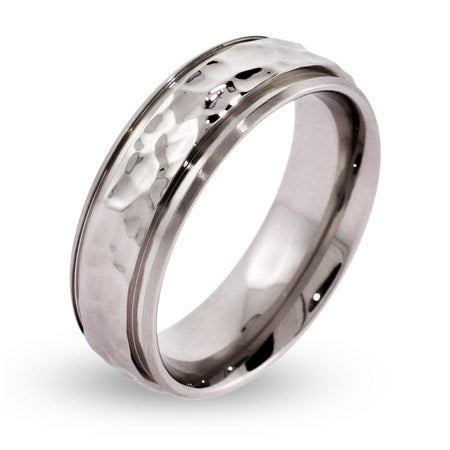 Men's Engravable Hammered Stainless Steel Message Ring | Eve's Addiction®