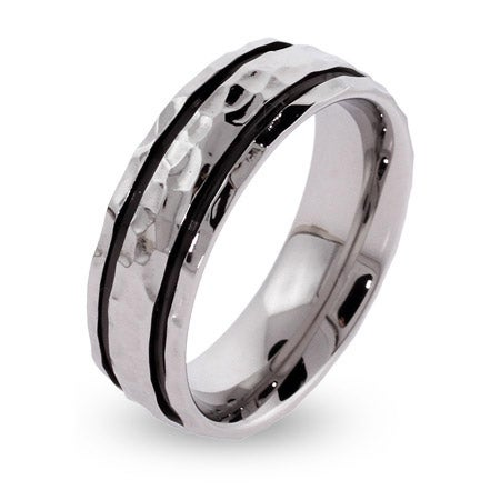 Men's Black Lined Hammered Stainless Steel Engravable Band | Eve's Addiction®