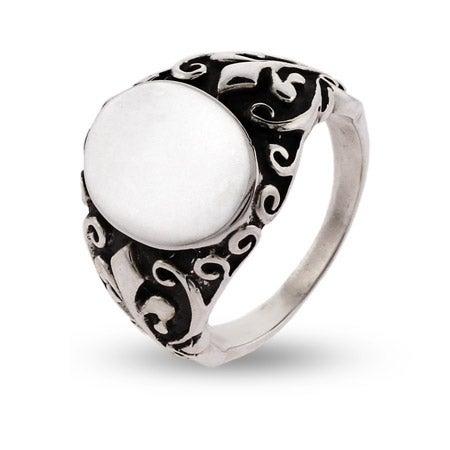 Engravable Sterling Silver Fleur de Lis Signet Ring | Eve's Addiction®