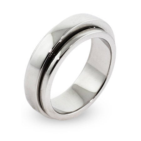 Engravable Sterling Silver Plain Band Spinner Ring | Eve's Addiction®