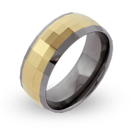 Men's Engravable Rectangle Cut Gold Tungsten Ring | Eve's Addiction®