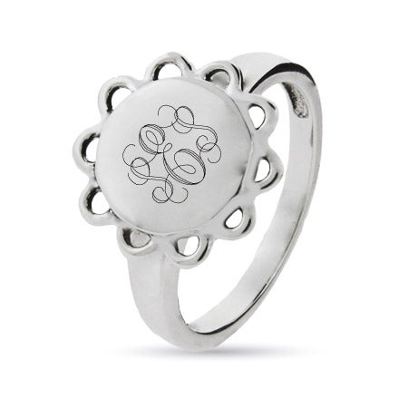 Sterling Silver Engravable Signet Ring in Vintage Design | Eve's Addiction®